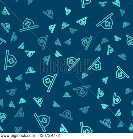 Green Line Canadian Ranger Hat Uniform Icon Isolated Seamless Pattern On Blue Background. Vector