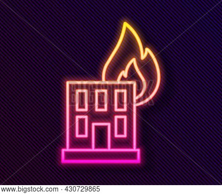 Glowing Neon Line Fire In Burning Building On City Street Icon Isolated On Black Background. Destroy