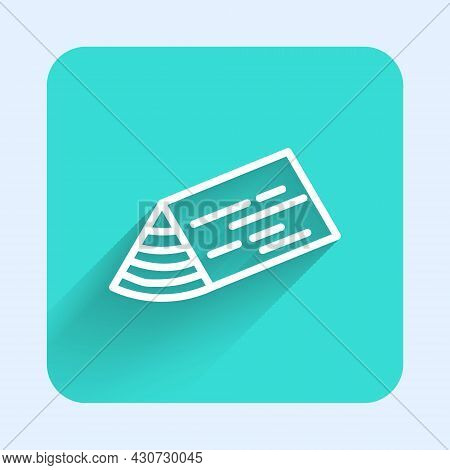 White Line Wooden Beam Icon Isolated With Long Shadow Background. Lumber Beam Plank. Green Square Bu