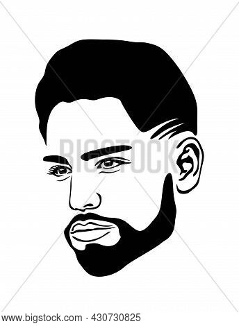Barbershop. Black African American Afro Male Abstract Face Portrait Vector Silhouette With Short Hai