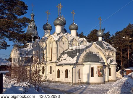 The Church Of St. Nicholas In Lower Yeltsovka, Multi-headed With Golden Crosses, Russian Traditional