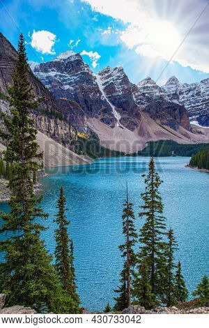 Canadian Rockies. Magnificent mountain lake Moraine. Travel to northern Canada. The glacial lake is fed by glacier melt water and is located in the Valley of the Ten Peaks.