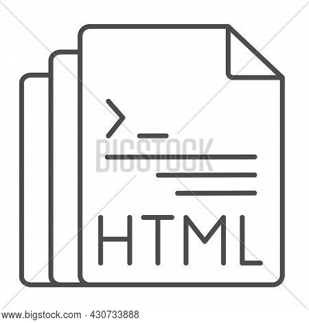 Html Code Document Files Thin Line Icon, Programming Concept, Html Doc Vector Sign On White Backgrou