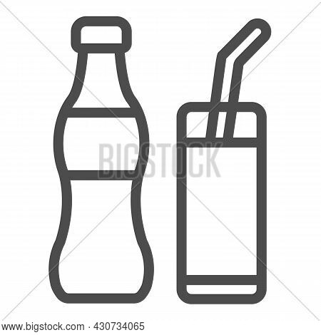 Soda Bottle With Glass And Straw Line Icon, Beverage Concept, Soft Drink Vector Sign On White Backgr