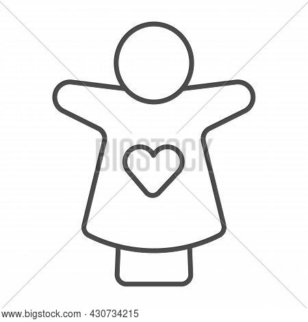 Puppet Doll With Heart On The Hand Thin Line Icon, Theater Concept, Puppet Theatre Vector Sign On Wh