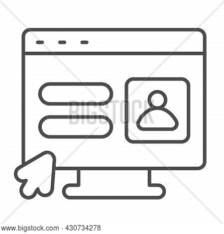 Monitor, User Authorization Window, Cursor Pointer Thin Line Icon, Ui Concept, Avatar Vector Sign On