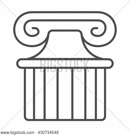 Ancient Greek Column Thin Line Icon, Theater Concept, Part Of Antique Greek Pillar Vector Sign On Wh