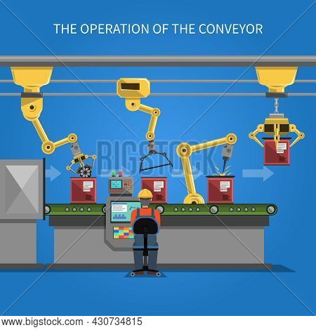 Robot Operation Of The Conveyor With Conveyor Belt On Blue Background Flat Vector Illustration