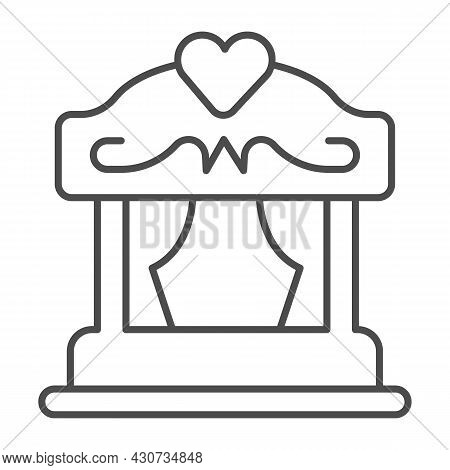 Portable Puppet Theater With Curtains And Heart Thin Line Icon, Theater Concept, Stage Vector Sign O