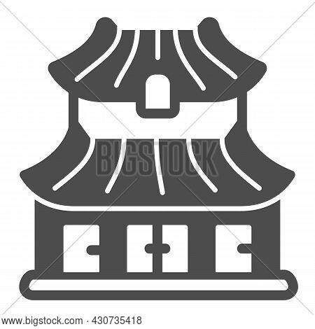Classic Japanese Dwelling House Building Solid Icon, Asian Culture Concept, Japan Home Vector Sign O
