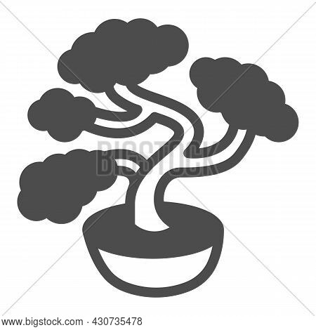 Bonsai Tree, Potted Plant Solid Icon, Asian Culture Concept, Japanese Miniature Tree Vector Sign On