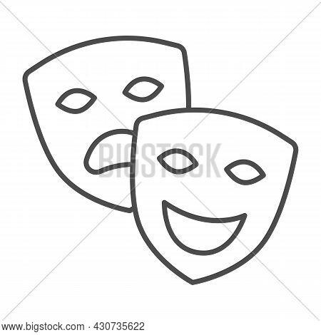 Comedy And Tragedy Masks, Theatrical Masks Thin Line Icon, Theater Concept, Happy Sad Face Vector Si