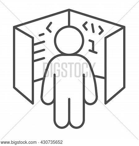 Ui Ux Designer, Cube With Code References, Board Thin Line Icon, It Concept, Web Developer Vector Si