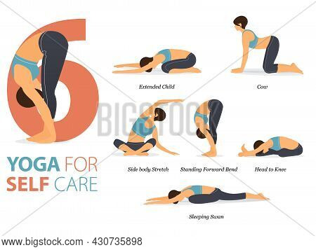 Infographic 6 Yoga Poses For Workout At Home In Concept Of Self Care In Flat Design. Women Exercisin