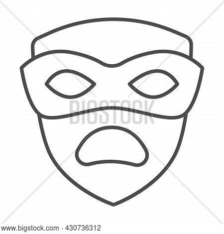 Carnival Mask, Tragedy Mask, Sad Face Thin Line Icon, Masquerade Concept, Drama Masque Vector Sign O
