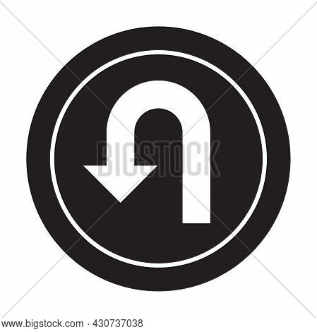 U-turn Traffic Sign Icon Vector Road Sign Navigation Concept For Your Website Design, Logo, App, Ui.