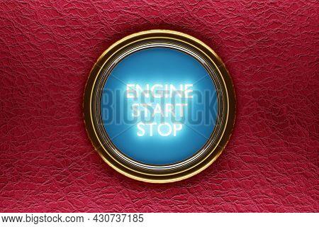 3d Illustarion Car Engine Push Start Stop Button Ignition Remote Starter. Car Dashboard