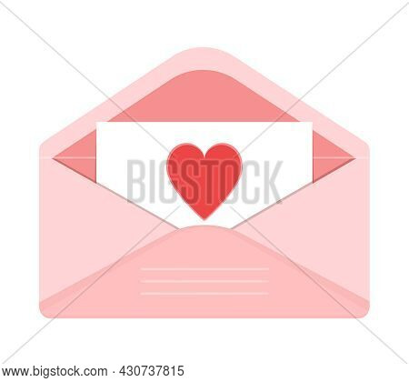 Open Pink Envelope With A Love Note With Heart. Valentines Day Greeting Card. Vector Illustration Is