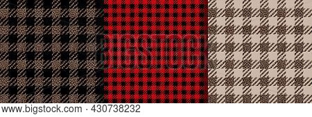 Check Fashion Seamless Patterns Set. Vector Vichy Repeat Backgrounds.