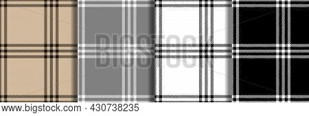 Check Fashion Seamless Patterns Set. Vector Repeat Backgrounds.