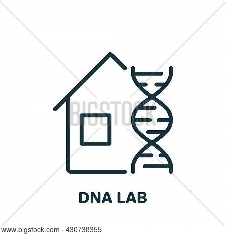 Science Lab Research Dna Line Icon. Laboratory For Genetic Or Microbiological Analysis Linear Pictog