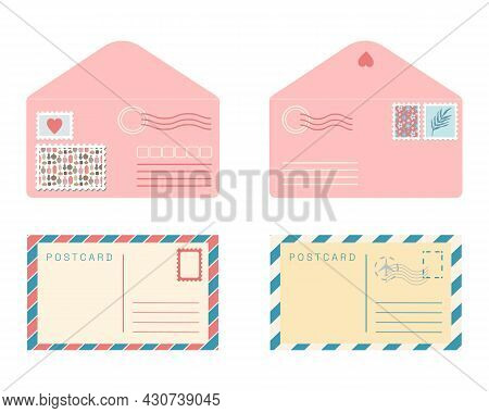 Postcard And Envelope Set. Isolated Flat Vector Retro Post Cards And Pink Envelopes With Post Stamps