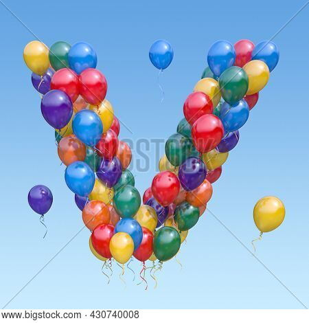 Letter V from balloons in the sky. Text letter for holiday, birthday, celebration. 3d illustration
