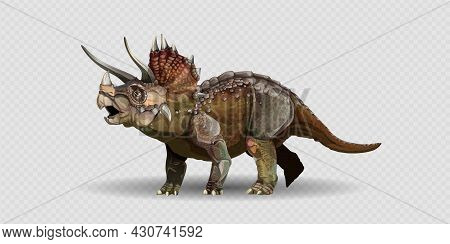Realistic Triceratops Dinosaur Of Jurassic Period, Prehistoric Extinct Giant Reptile Cartoon Realist