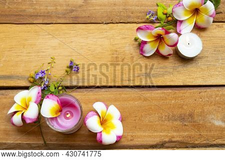 Natural Herbal Scented Candle Extract Flower Frangipani Aroma Therary Local Of Asia Arrangement Flat