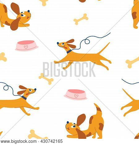 Cute Doggie Seamless Pattern. Happy Hand Draw Cute Dogs. Funny Puppies, Bones, Bowls. Children's Pat
