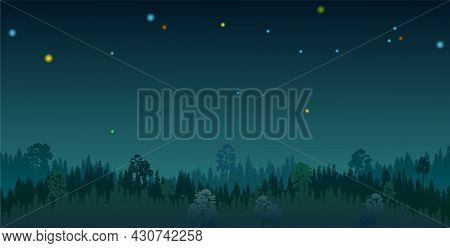 Pine Forest At Night. Silhouettes Of Coniferous Trees In The Darkness. Stars Sky. Dark Landscape Hor