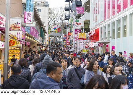 Tokyo, Japan - January 4,2020 : Crowd Of People Walking And Shopping On Takeshita Street In Harajuku