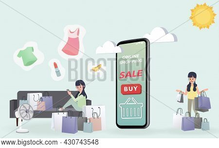 A Woman Sits On A Comfortable Sofa At Home And Buys A Lot Of Stuff. But Others Have To Go Out And Bu