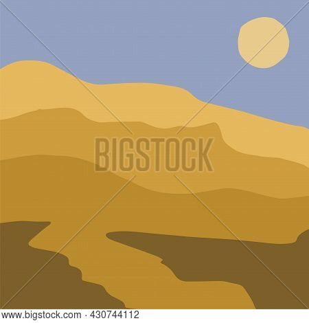 Minimalist Aesthetic Desert Landscape At The Sunset. View Of A Natural Sandy Valley. Boho Simple Bac