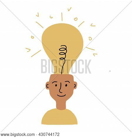 Young Smiling Man With A Burning Light Bulb On His Head. Concept Of The Emerging Idea. Flat Vector I
