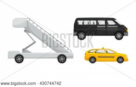 Airport Airfield Vehicles Set. Ladder And Taxi Cars Vector Illustration