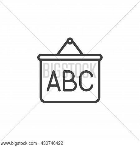 Abc Whiteboard Line Icon. Linear Style Sign For Mobile Concept And Web Design. School Board With Abc