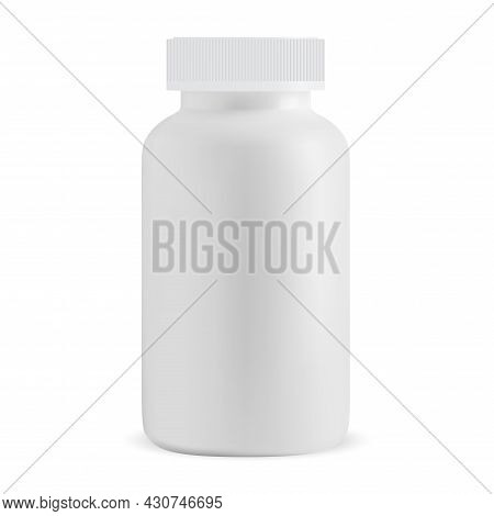White Pill Bottle Blank. Isolated Medicine Supplement Jar, Vector Design. Prescription Capsule Box T