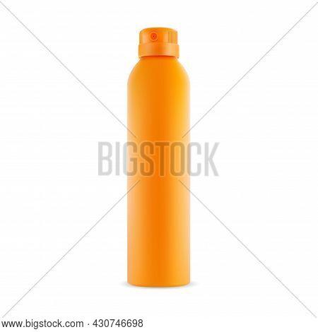 Deodorant Spray Blank, Vector Container Mockup. Aerosol Can, Air Freshener Template. Yellow Plastic