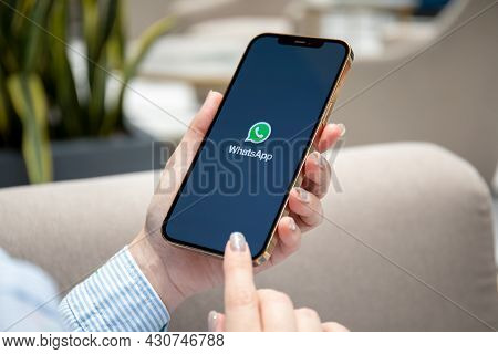 Alanya, Turkey - June 7, 2021: Woman Hand Holding Iphone 12 Pro Max Gold With Social Networking Serv