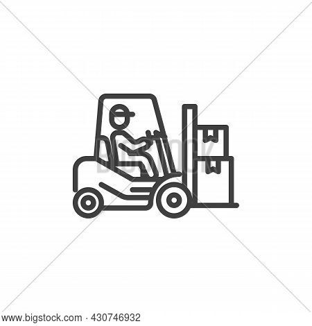 Man Driving Forklift Truck With Boxes Line Icon. Linear Style Sign For Mobile Concept And Web Design