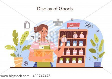Commercial Activities. Entrepreneur Putting Goods On Showcases
