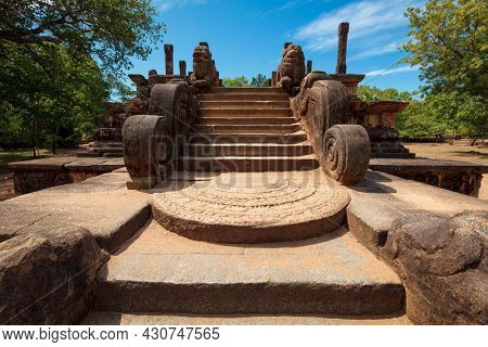Stairway of Audience Hall of King Parakramabahu ruins in Royal Palace group in ancient city Pollonaruwa - famous tourist attraction, Sri Lanka