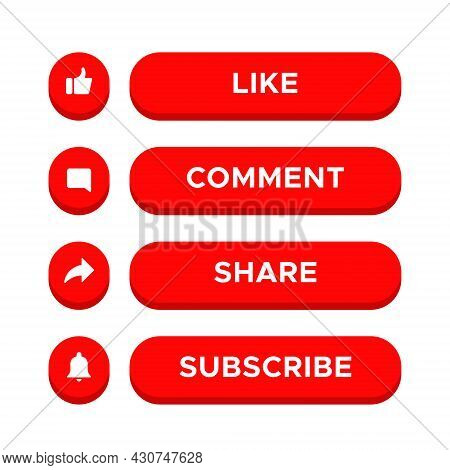 Like, Comment, Share and Subscribe Icon Vector on 3d Button