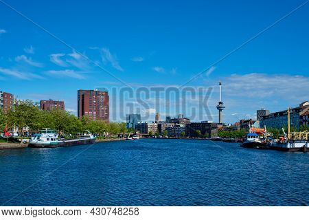 View of Rotterdam cityscape with Euromast observation tower. Rotterdam, Netherlands