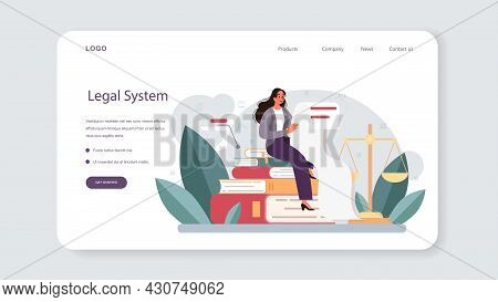 Lawyer Web Banner Or Landing Page. Law Advisor Or Consultant