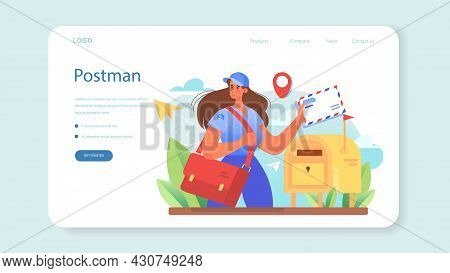 Postman Profession Web Banner Or Landing Page. Post Office Staff