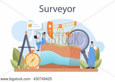 Surveyor Concept. Land Surveying Technology, Geodesy Science