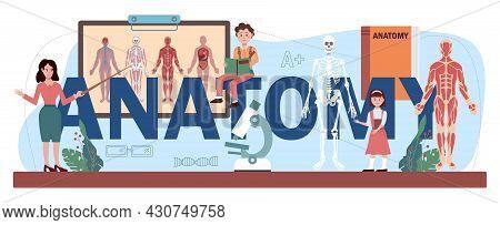 Anatomy Typographic Header. Internal Human Organ Studying. Anatomy And Biology