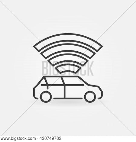 Autonomous Vehicle With Radio Waves Vector Concept Line Icon